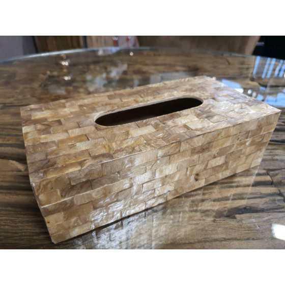 Schelpen tissue box bruin goud parelmoer