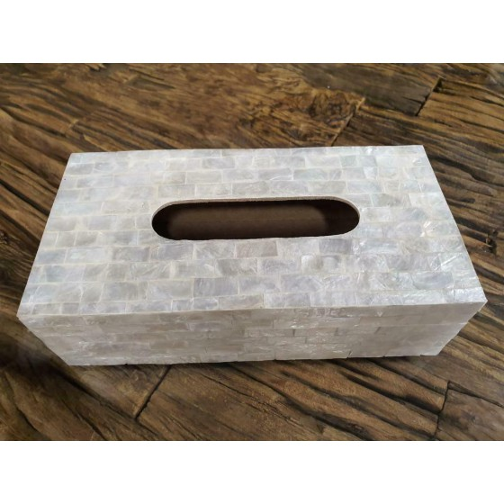 Schelpen tissue box wit parelmoer