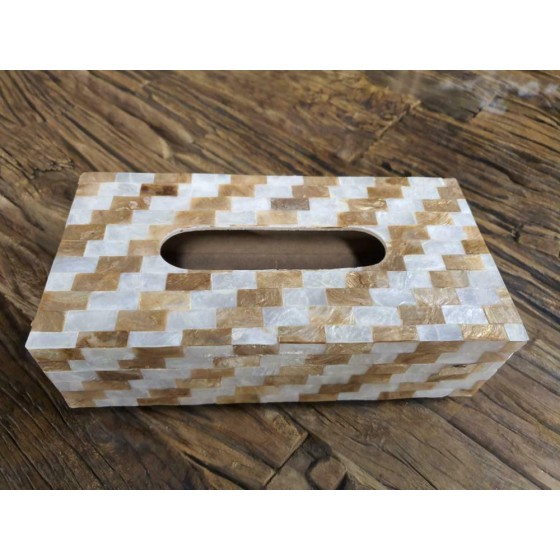 Schelpen tissue box wit goud parelmoer