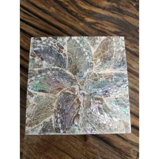 Schelpen onderzetters zilver parelmoer