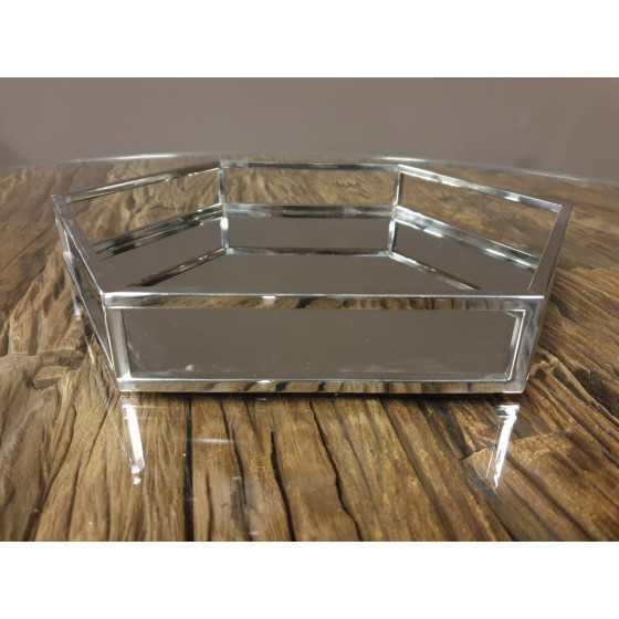 Spiegel dienblad zilver zeshoekig 35-40 cm