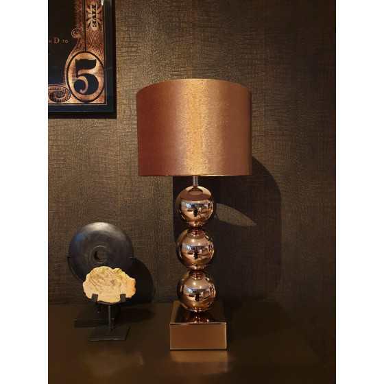 Bollenlamp 3 bol brons met vierkante voet 68 cm