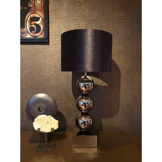Bollenlamp 3 bol Antraciet met vierkante voet 68 cm