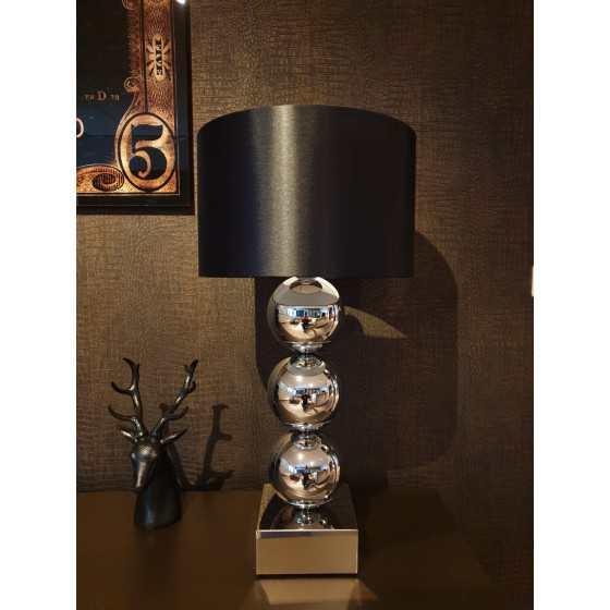 Bollenlamp 3 bol XL inclusief kap Zilver 78 cm