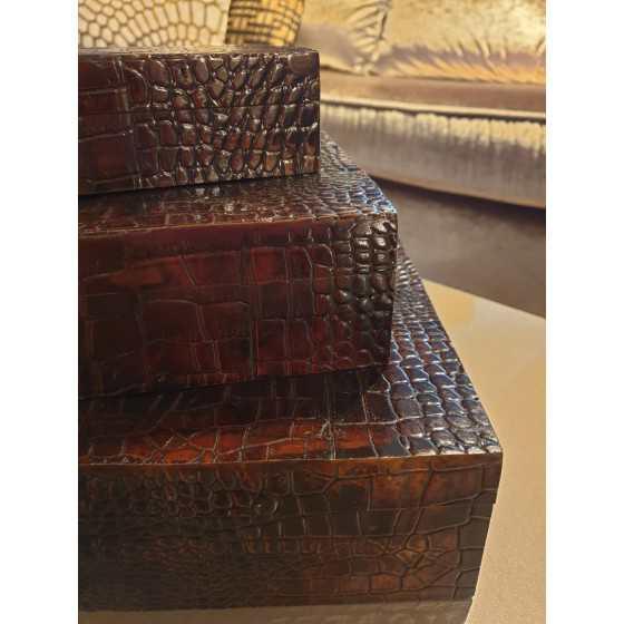 Slangenleer box bruin set 3 stuks