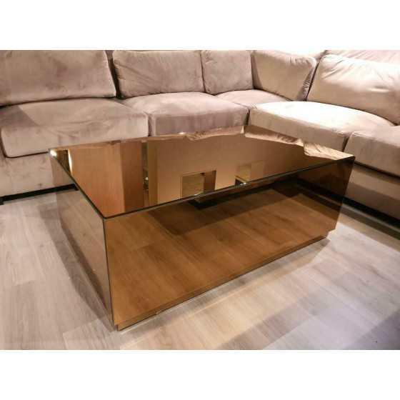 Bloktafel Salontafel 130x80cm Spiegel | Brons