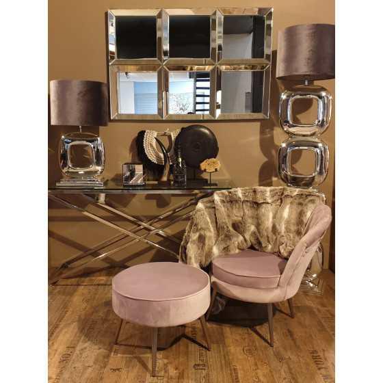 Velvet fauteuil met poef roze