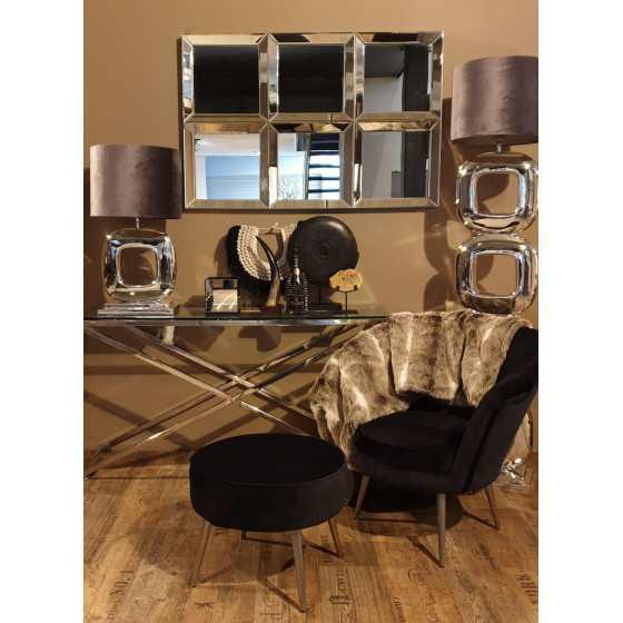 Velvet fauteuil met poef zwart