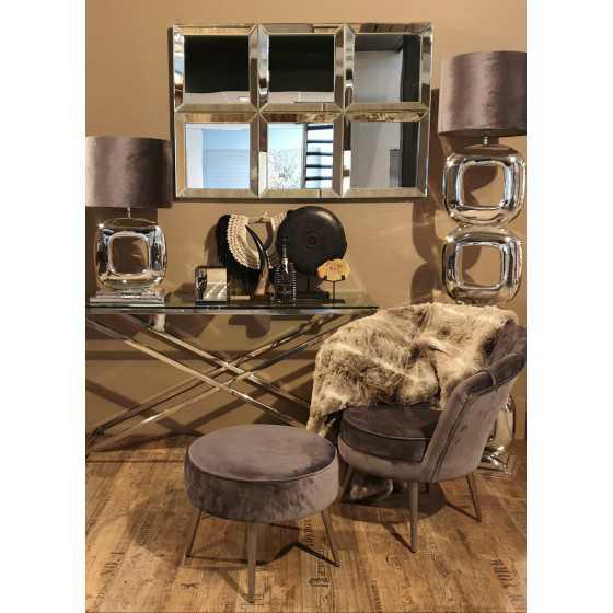 Velvet fauteuil met poef grijs