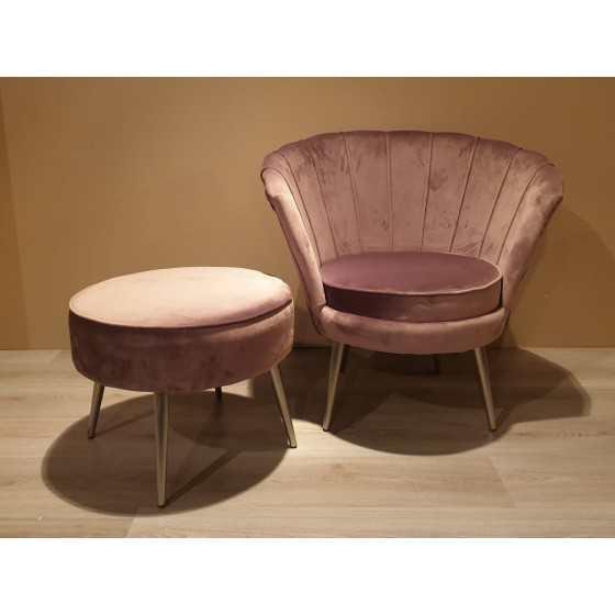 Velvet fauteuil met poef taupe
