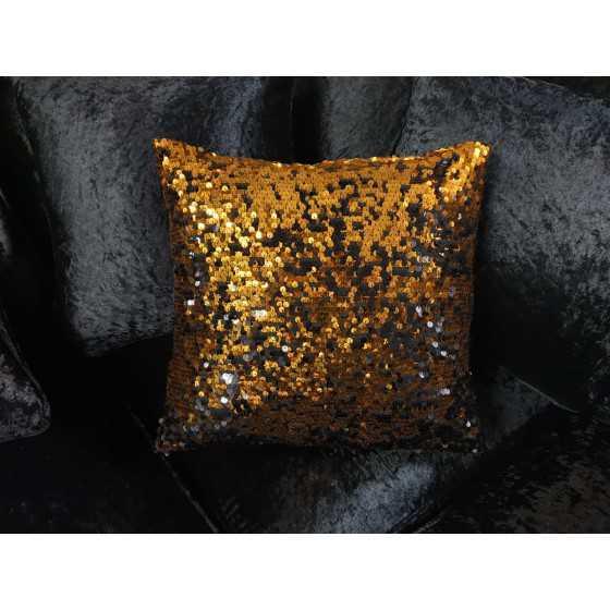 Kussen met brons zwarte pailletten 40x40 cm