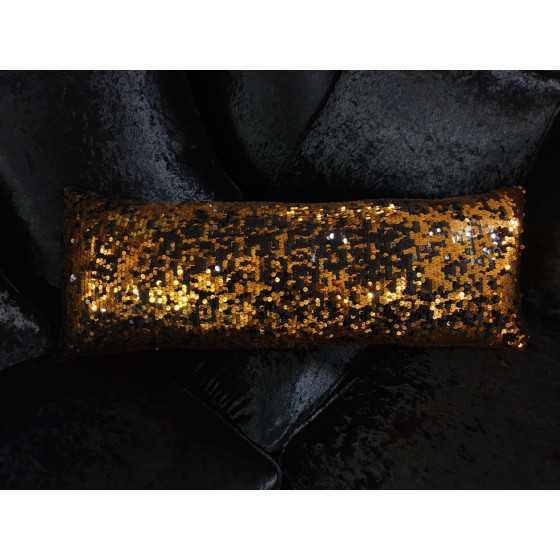 Kussen met brons zwarte pailletten 75x30 cm