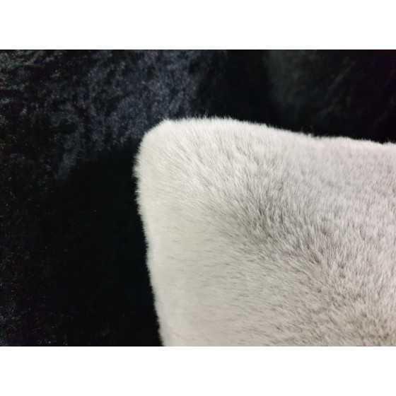 Kussen fluweel bont grijs 45x45cm