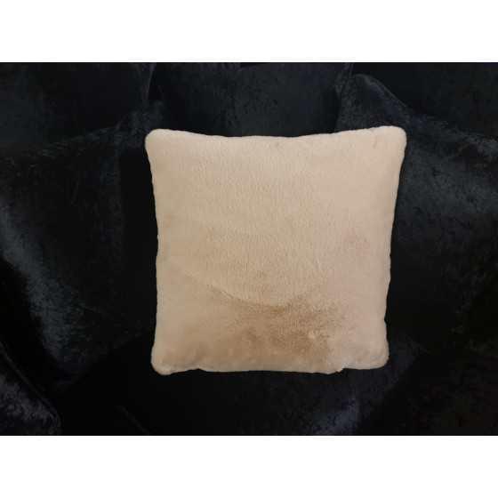 Kussen fluweel bont beige 45x45cm