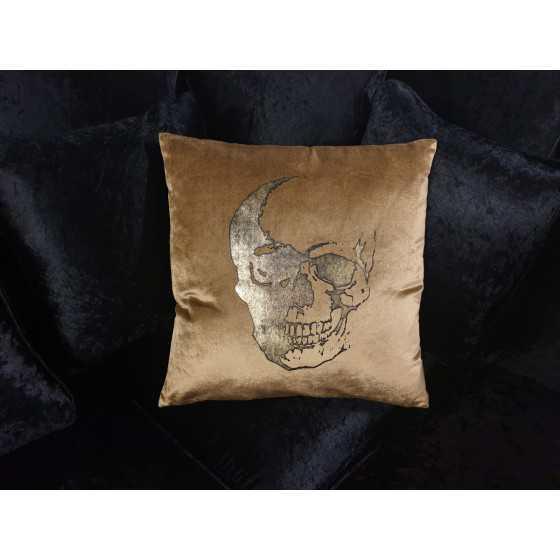 Kussen schedel goud fluweel diga colmore 50x50 cm