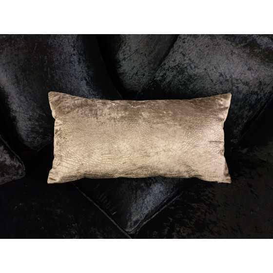 Kussen fluweel slangenprint brons 35x60cm