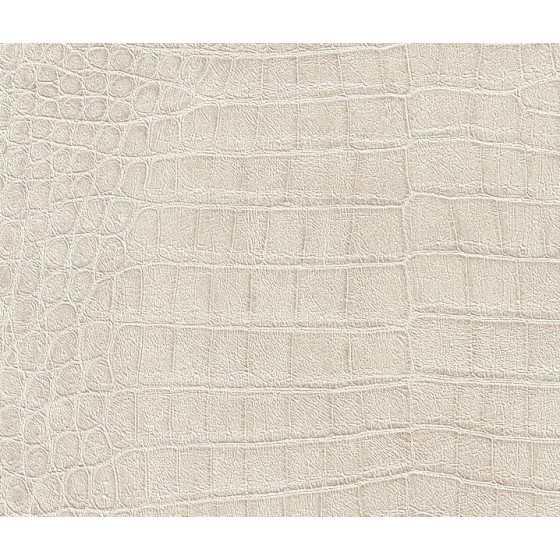 Vliesbehang Krokodil print wit parelmoer 474152