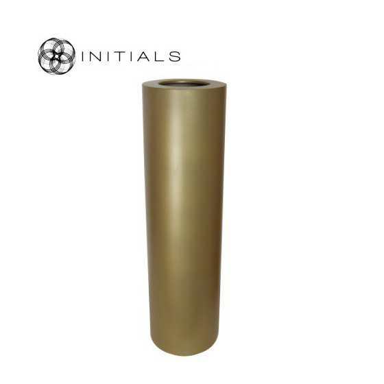 Luxe windlicht op pilaar goud 27.5x100 cm
