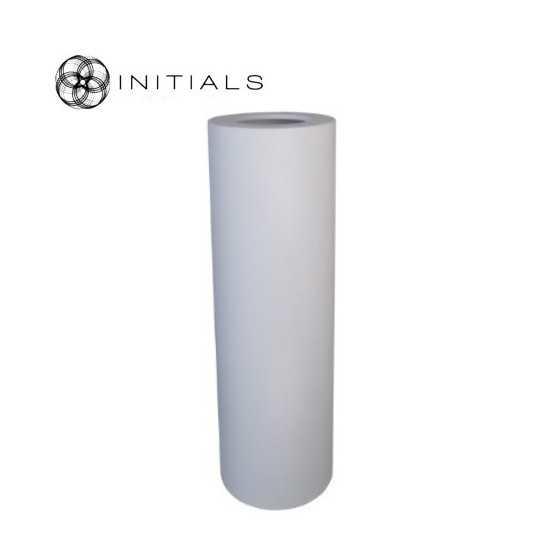 Luxe windlicht op pilaar wit 27.5x100 cm