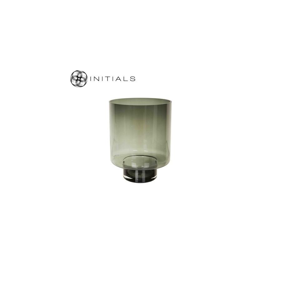 Kaarsenhouder rond glas Smoked t.b.v. windlichten op pilaar