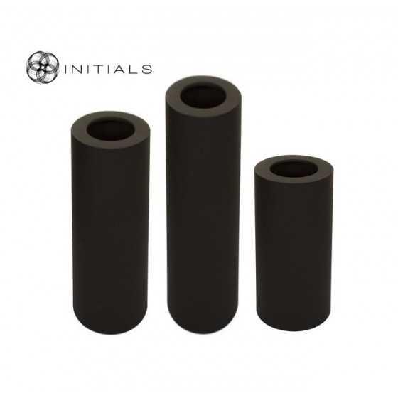 3-delige set windlichten op pilaar zwart 60+80+100 cm