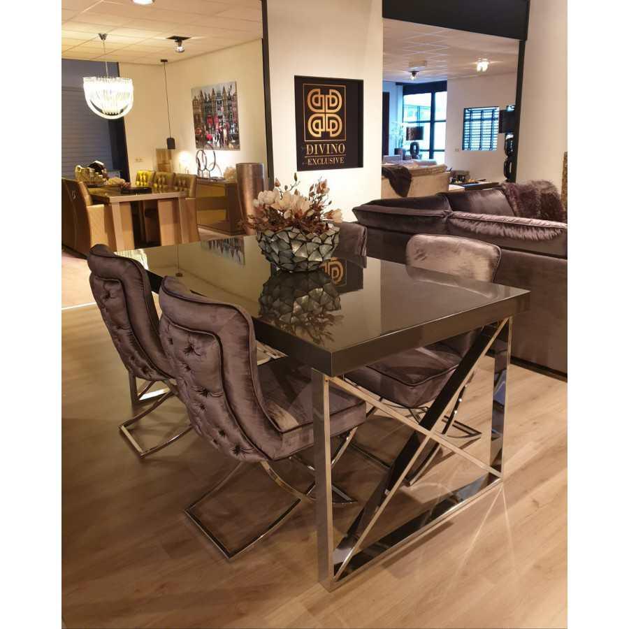 Eettafel grey metallic met chromen onderstel 180x100
