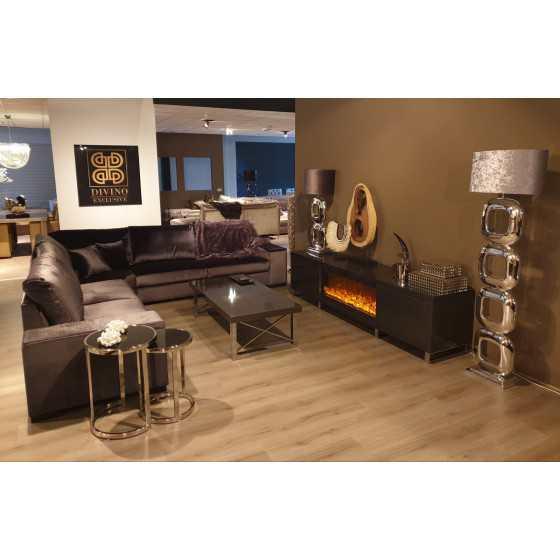 Tv-meubel grey metallic met sfeerhaard 240x50x60