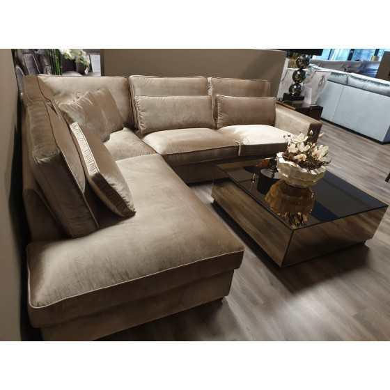 Hoekbankstel velvet chaise longue model Saint-Tropez 315x250 Champagne Velvet