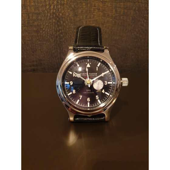 Horloge Klok Zilver Zwarte Croco Band Eichholtz