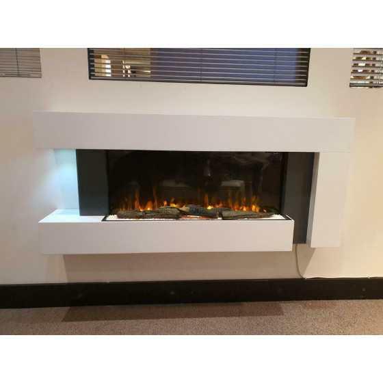 Sfeerhaard strak wit + verwarming 135cm