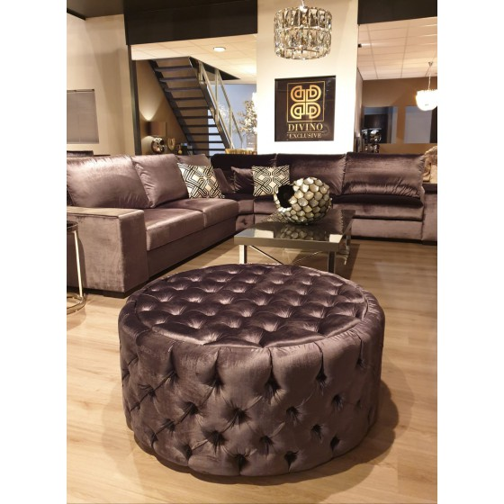 Poef rond Chesterfield antraciet velours 100x40