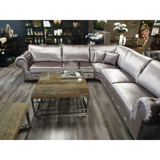 Hoekbankstel taupe velours model Chesterfield 310x310