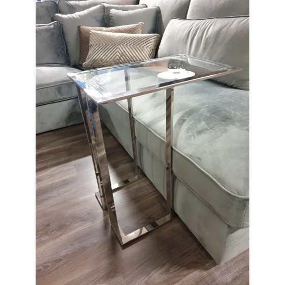 Zilver bijzettafeltje / laptoptafel met glasplaat 63x55x35