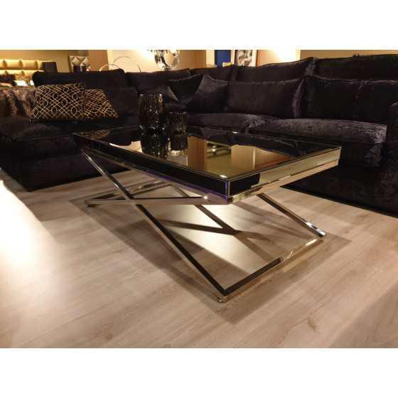 salontafel 130x70x47cm zilver chroom met smoked spiegel glasplaat