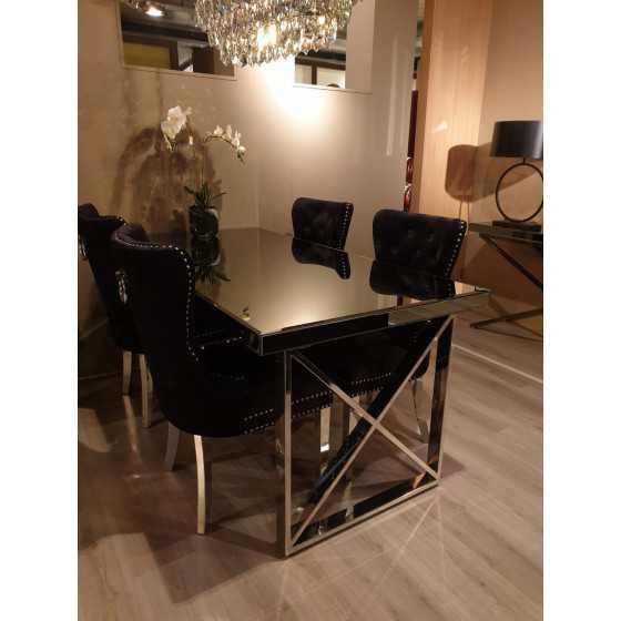 Eettafel 180x90x80cm zilver chroom met smoked spiegel glasplaat