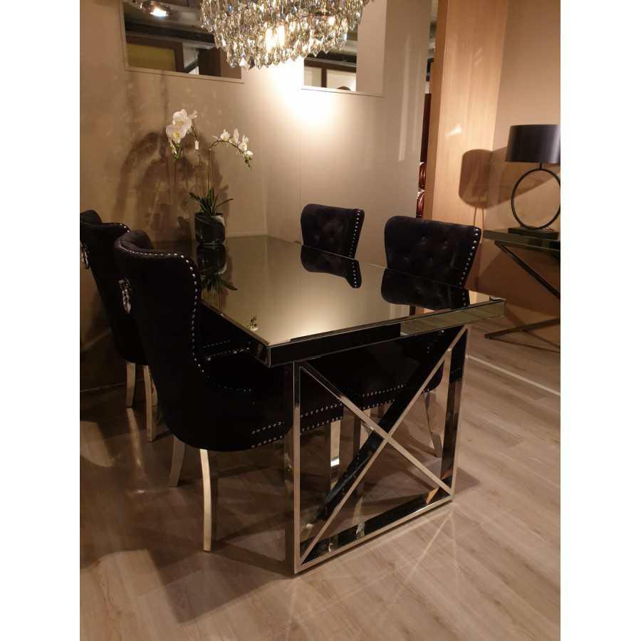 Eettafel Zilver Chromen Onderstel Smoked Spiegelglas Tafelblad Luxe