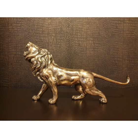 Gouden leeuw beeld massief 50 cm