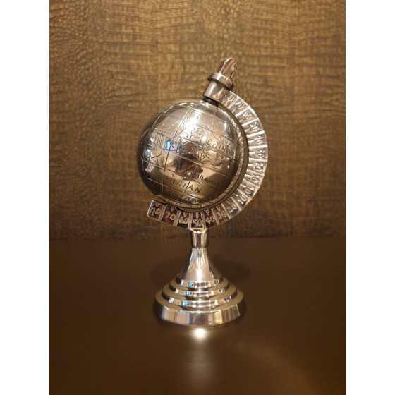 Wereldbol zilver 22cm