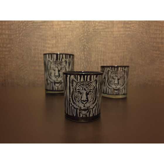 Waxinelichthouder zwart tijger 9x8cm