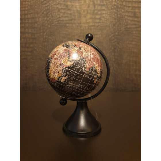 Wereldbol zwart 13 cm