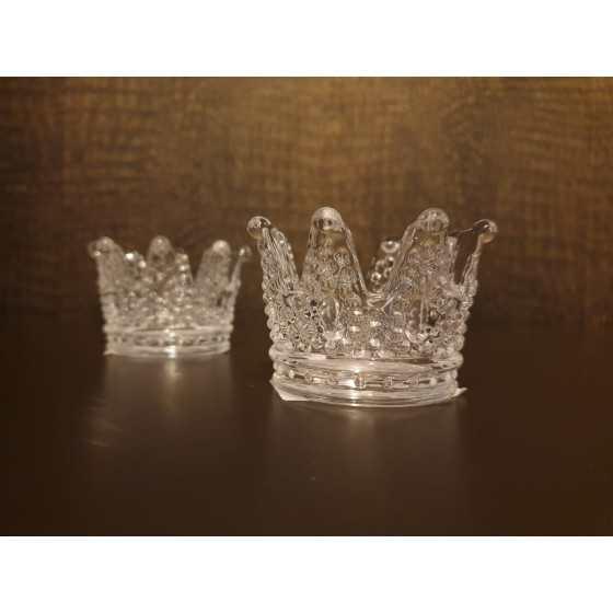 Waxinelichthouder kroon glas 7x5cm