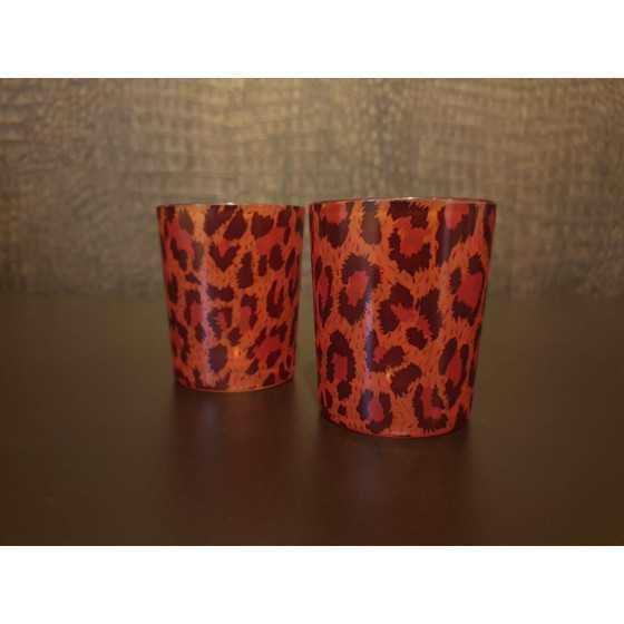 Waxinelichthouder luipaard set 2 stuks