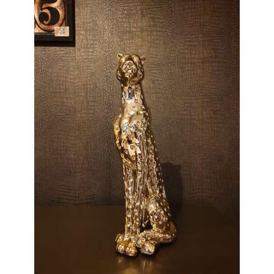 Gouden luipaard beeld 53x20cm