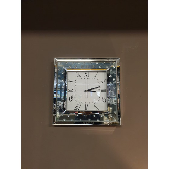 Wandklok diamant zilver vierkant 50x50cm