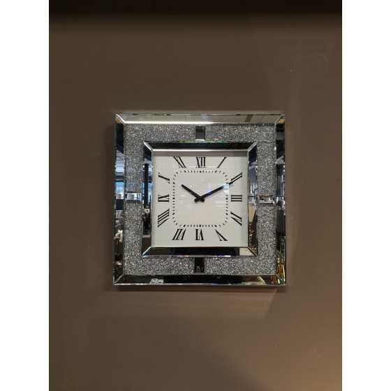 Wandklok glitter zilver vierkant 50x50cm