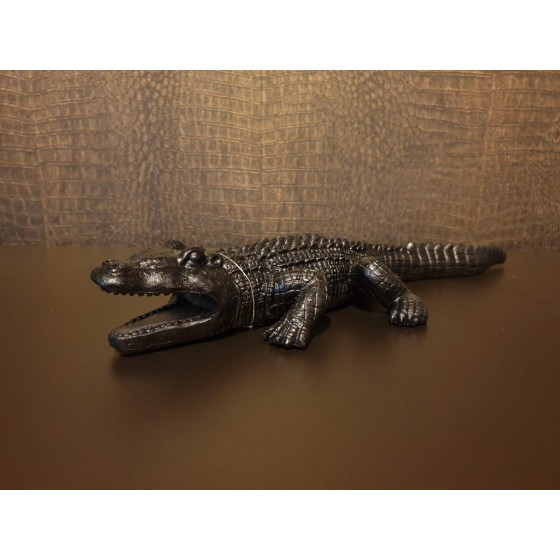 Krokodil Zwart 40x15cm