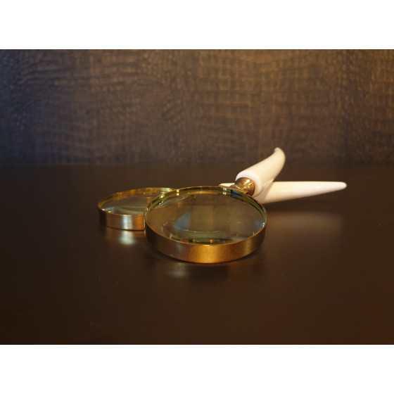 Vergrootglas gouden rand met ivoor handvat