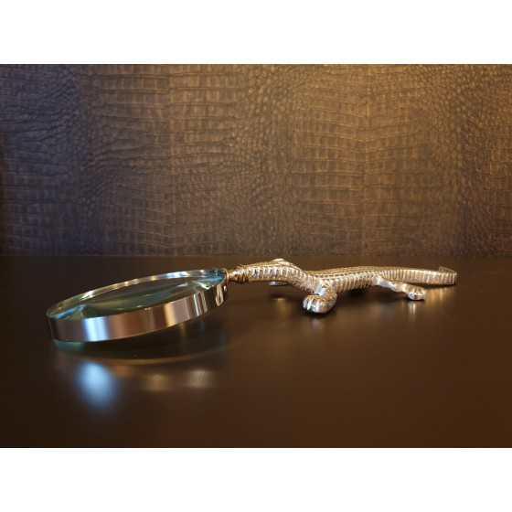 Vergrootglas zilveren krokodil