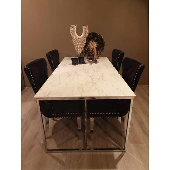 Eettafel wit marmer chromen onderstel 160x100cm