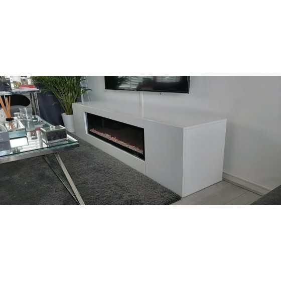 TV-Meubel met sfeerhaard 200x40cm Hoogglans Wit